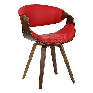 Cadeira Grife de Luxo Vermelho Base Madeira