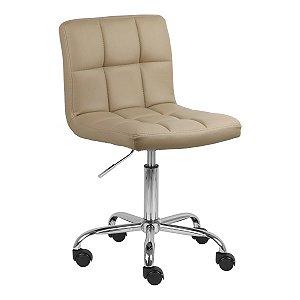 Cadeira Noruega Nude em PU Base Rodízio