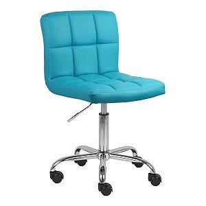 Cadeira Noruega Turquesa em PU Base Rodízio