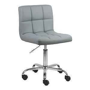 Cadeira Noruega Cinza Claro em PU Base Rodízio