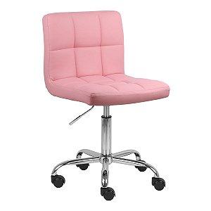Cadeira Noruega Rosa em PU Base Rodízio