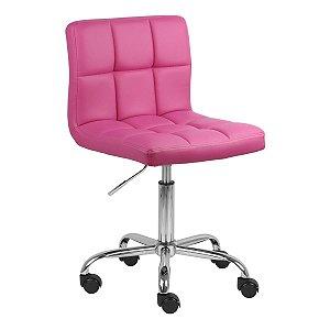 Cadeira Noruega Pink em PU Base Rodízio