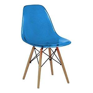 Cadeira New Azul em PC Base Madeira