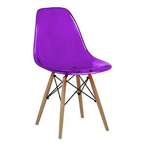 Cadeira New Roxa em PC Base Madeira