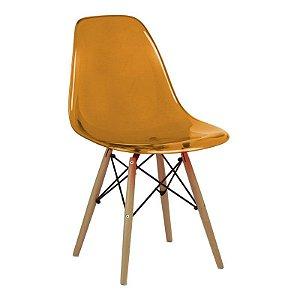 Cadeira New Laranja em PC Base Madeira