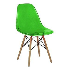 Cadeira New Verde em PC Base Madeira