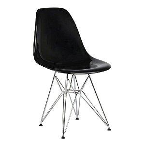 Cadeira New Preta em PC Base Cromada