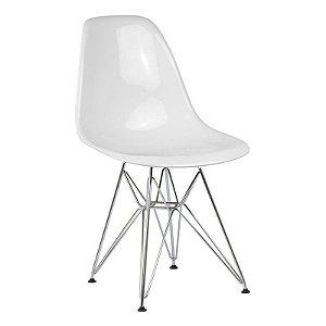 Cadeira New Branca em PC Base Cromada