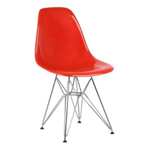 Cadeira New Vermelha Sólida em PC Base Cromada