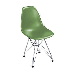 Cadeira New Verde em Abs Infantil Base Cromada