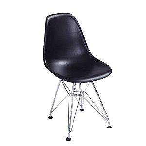 Cadeira New Preta em Abs Infantil Base Cromada