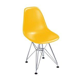 Cadeira New Amarela em Abs Infantil Base Cromada
