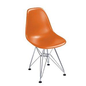 Cadeira New Laranja em Abs Infantil Base Cromada
