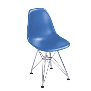 Cadeira New Azul em Abs Infantil Base Cromada