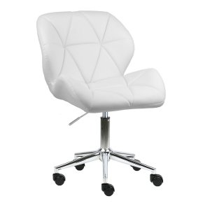 Cadeira Australia Branco em PU Base Estrela Rodízio