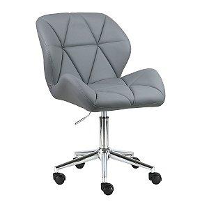 Cadeira Australia Cinza Claro em PU Base Estrela Rodízio