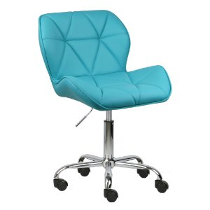 Cadeira Moscou Azul Tiffany em PU base rodizios