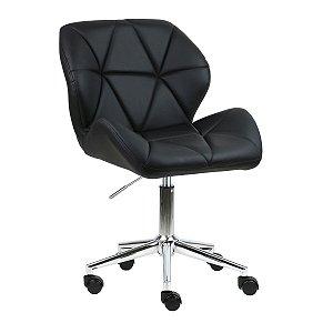 Cadeira Australia Preto em PU Base Estrela Rodízio