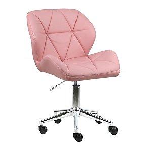Cadeira Australia Rosa em PU Base Estrela Rodízio
