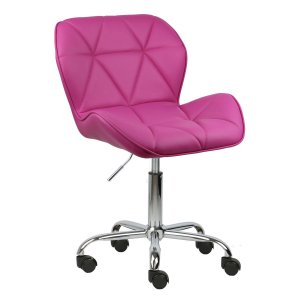 Cadeira Moscou Pink em PU base rodizios