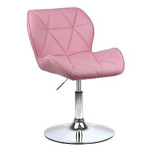 Cadeira Moscou Rosa em PU Base Disco