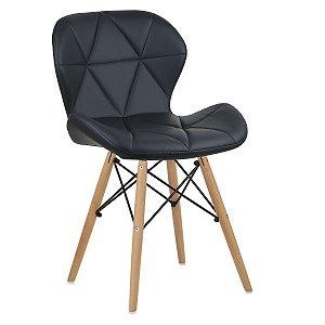 Cadeira Slim Preto base madeira