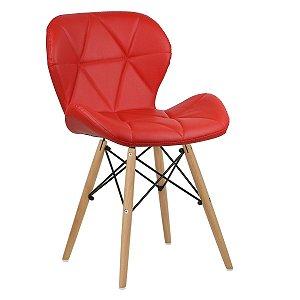 Cadeira Slim Vermelho base madeira