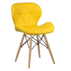 Cadeira Slim Amarelo base madeira