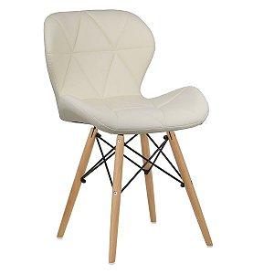 Cadeira Slim Creme base madeira