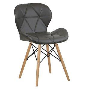 Cadeira Slim Castanho base madeira