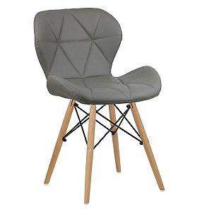 Cadeira Slim Cinza Claro base madeira