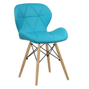 Cadeira Slim Turquesa base madeira