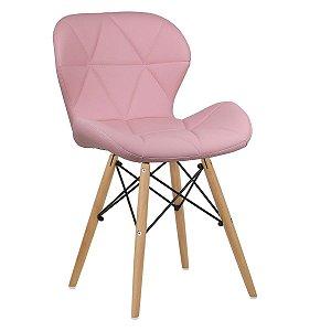 Cadeira Slim Rosa base madeira