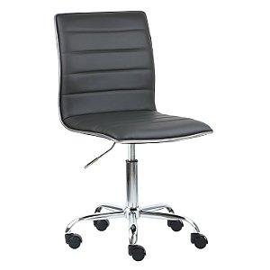 Cadeira Monaco Cinza Escuro em Couro Ecológico e Base Rodízio