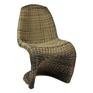 Cadeira Panton Marrom em Ratan Sintético