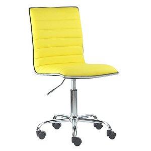 Cadeira Monaco Amarela em Couro Ecológico e Base Rodízio