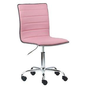 Cadeira Monaco Rosa em Couro Ecológico e Base Rodízio