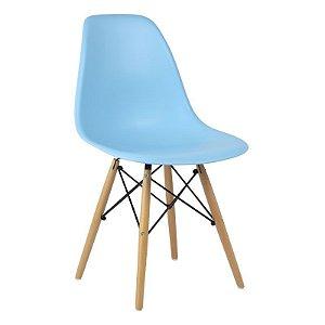 Cadeira Azul Claro Charles Eames Wood Dsw em PP