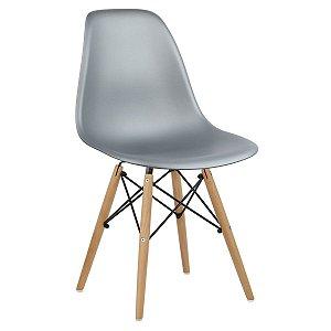 Cadeira Prata Charles Eames Wood Dsw em PP