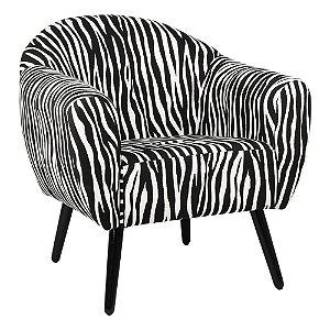 Poltrona Itália Estampa Zebra Pés Preto