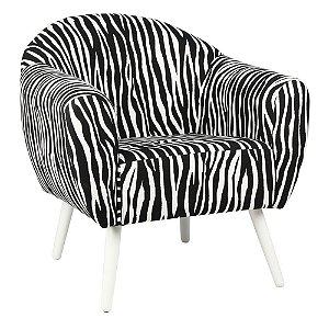 Poltrona Itália Estampa Zebra Pés Branco