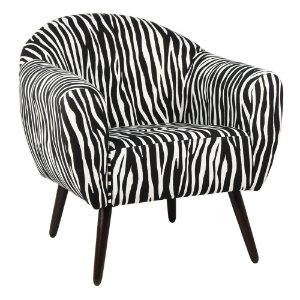 Poltrona Itália Estampa Zebra Pés Tabaco