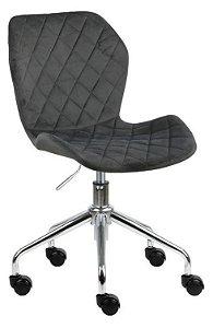 Cadeira Belize Cinza Escuro em Suede Base Rodízio
