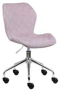 Cadeira Belize Rosa Claro em Suede Base Rodízio