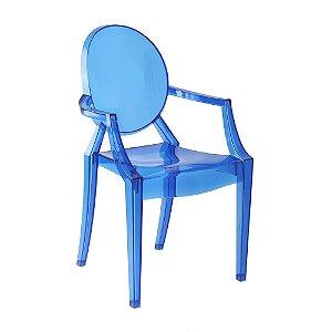 Cadeira Azul Escuro Translucido Louis Ghost em Policarbonato