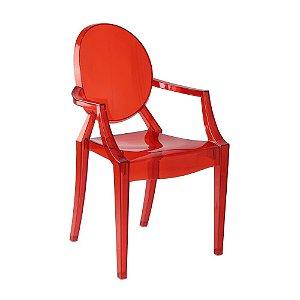 Cadeira Vermelho Translucido Louis Ghost em Policarbonato