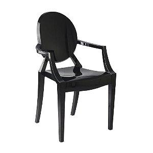 Cadeira Preto Sólido Louis Ghost em Policarbonato