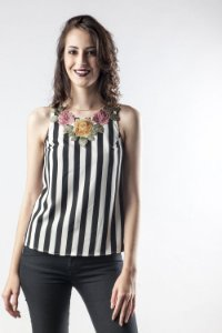 Blusa Flower Stripes