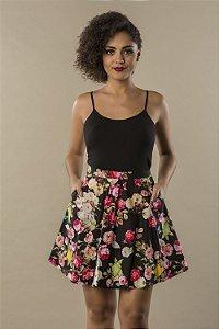 Saia Godê Floral Black