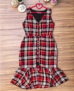 Vestido Midi Tartan Red